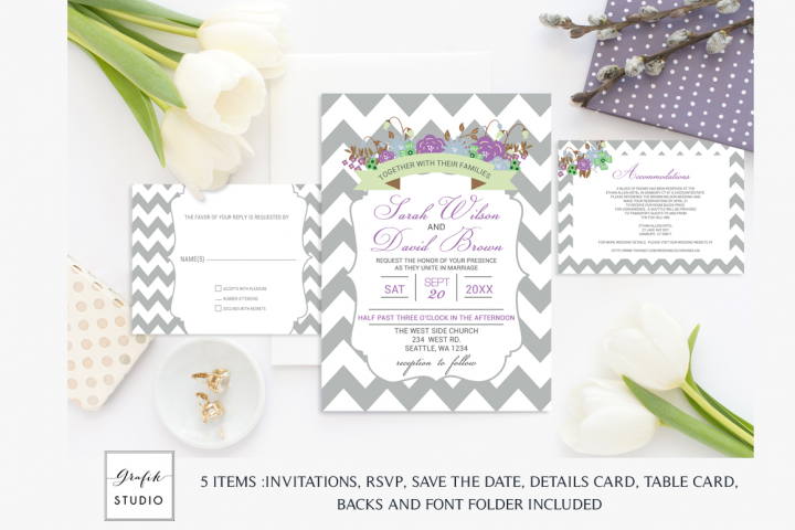 Purple and Mint Chevron Floral Wedding Invitation Template