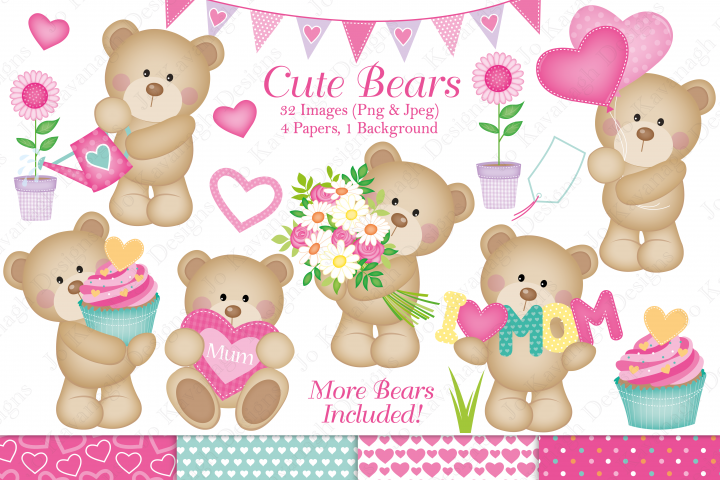 Cute bear graphics & Illustrations, Bear graphics & Illustrations, Mothers Day graphics & Illustrations, Cute Bear clipart, Mothers Day clipart