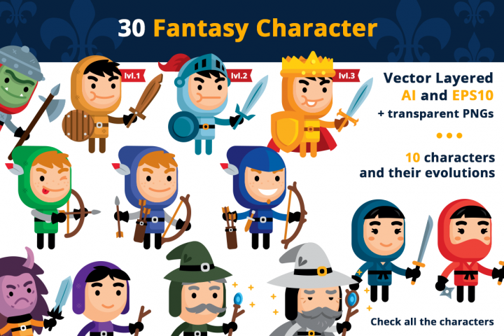 30 Fantasy Vector Clipart Characters