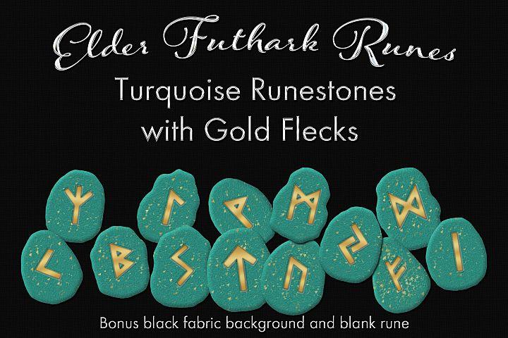 Elder Futhark Runes - Turquoise Runestones with Gold Flecks