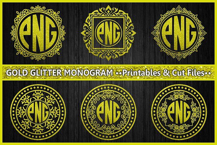 monogram gold glitter, cut files, gold glitter, ornament, monogram letters, digital prints, scrapbooking, glitter