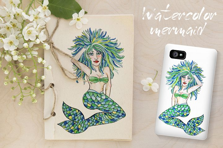 Watercolor mermaid with colorful hair