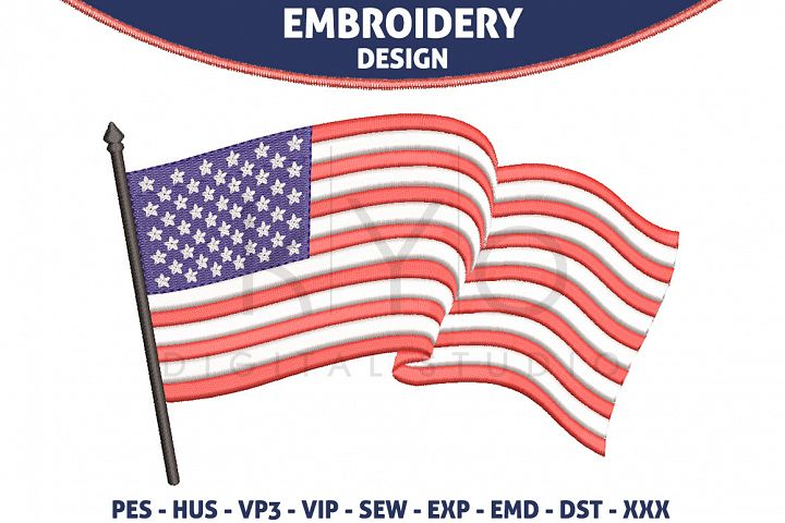 American USA Flag Embroidery design HUS VP3 EXP VIP PES DST EMD SEW format files 4th fourth of July Independence day