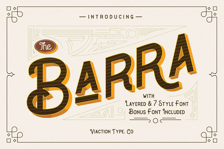 The Barra |7 Font Family + Bonus