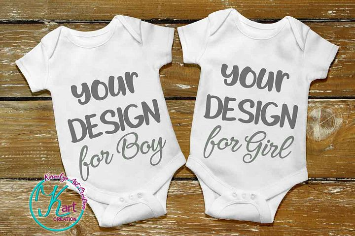 Blank White Baby Mockup, White Baby Bodysuit mock up, Baby Mock up - Flat, Top View, Wood Background, two white baby onesie mockups, JPEG
