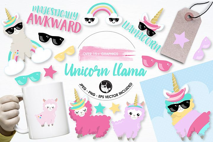 Llama unicorn graphics and illustrations