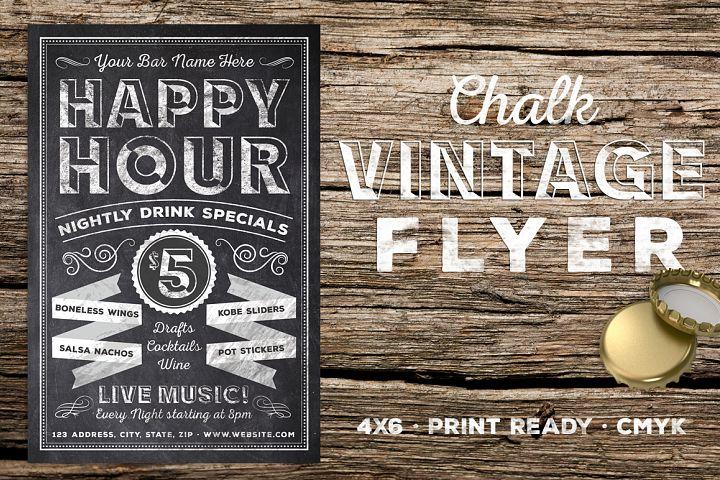 Chalk Vintage Happy Hour Flyer