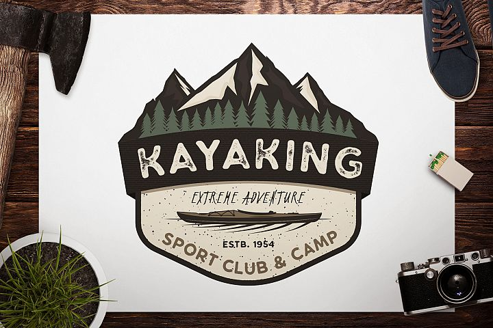 Kayak SVG Cut File, Adventure Digital, Mountain Camp Cut file, Wanderlust, Vector logo, Cricut Cutting File, Camp Printable, Travel svg