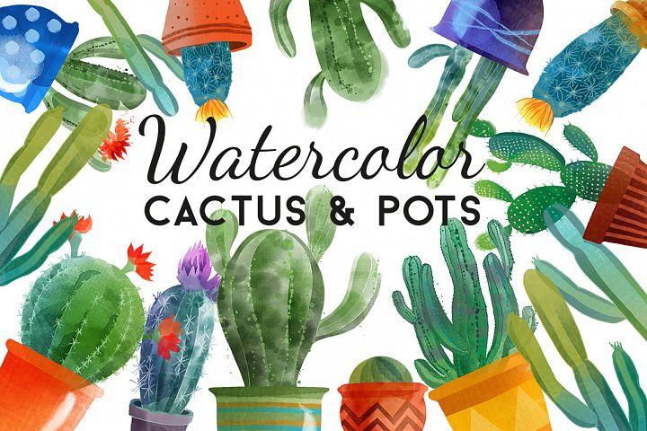 Watercolor cactus & pots
