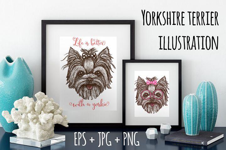 Yorkshire terrier dog print design
