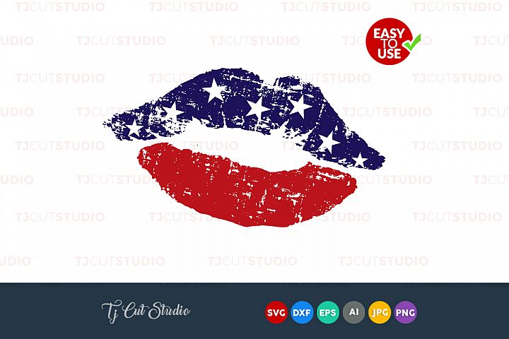 Flag kissing mouth, kiss svg, 4th of july svg, Files for Silhouette Cameo or Cricut, Commercial & Personal Use.