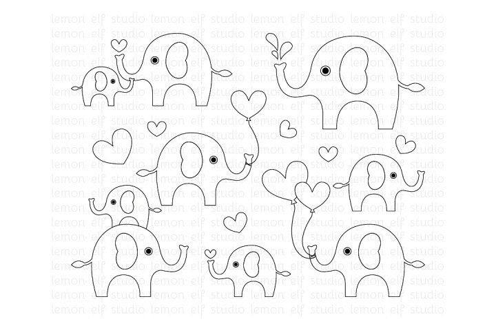 Cute Elephants-Digital Stamp (LES.DS10)