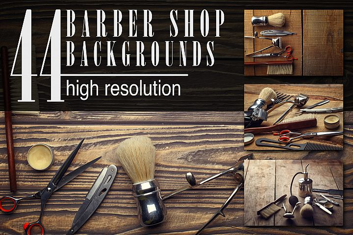 Barber shop wooden backgrounds JPG set