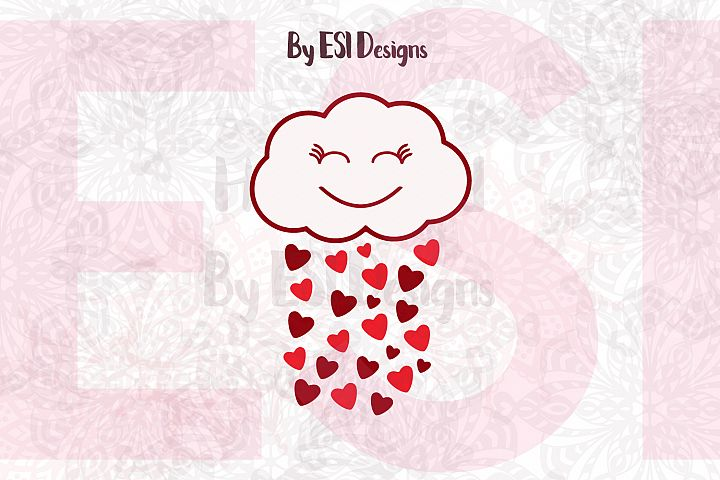 Cute Cloud and Hearts Design - SVG, DXF, EPS & PNG