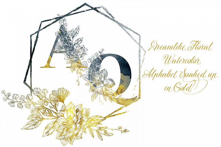 Dreamlike Floral Watercolor Alphabet Gold Touched
