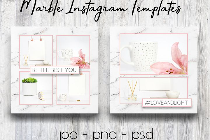 Marble & Pink Instagram Templates | Social Media Templates