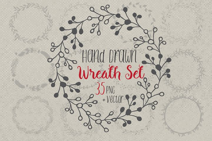 Hand drawn wreaths and frames
