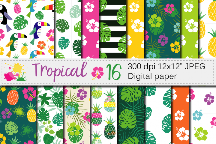 Tropical digital paper with hibiscus flower, toucan, pineapple and palm leaves / Cute summer seamless patterns / Tropical backgrounds