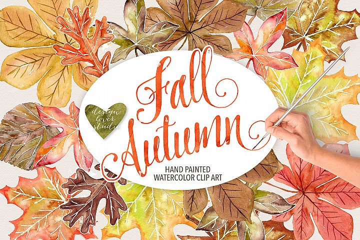 Watercolor Autumn Leaves Fall clip art