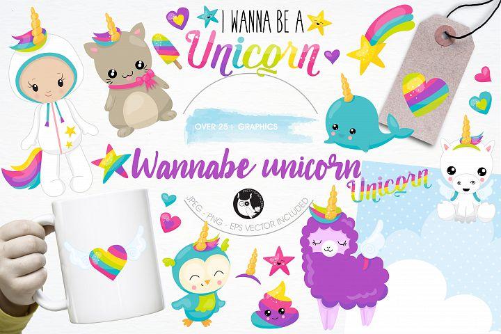 Wannabe unicorn graphics and illustrations