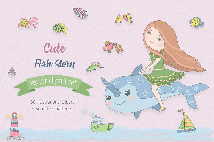 Cute Fish Illustration Set