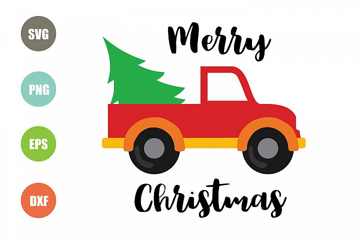 Red Truck Christmas Tree SVG