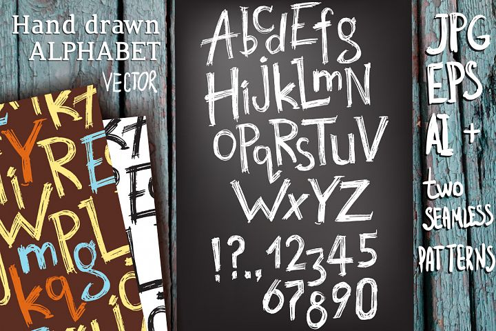 Vector hand drawn latin alphabet