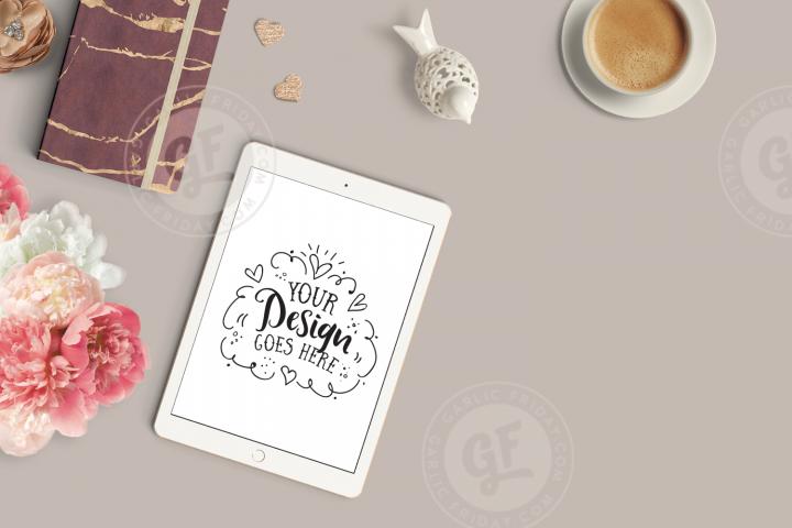 Feminine iPad Mockup - Burgundy Styled Desktop Scene