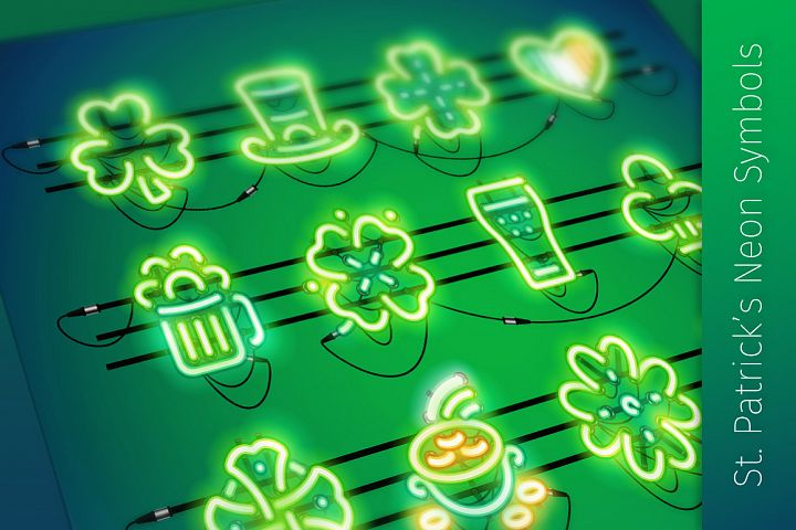 St. Patricks Day Neon Icons
