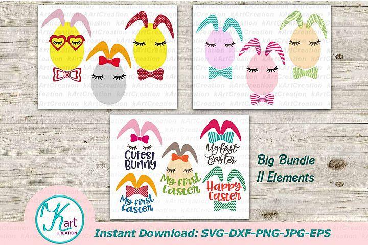 bunny easter svg, easter bundle svg, easter face svg, bunny ears svg, cutest bunny, first easter, svg file, happy easter, egg svg, kids, dxf