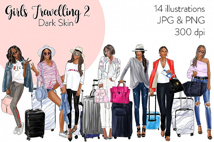 Fashion illustration clipart - Girls Travelling 2 -Dark Skin