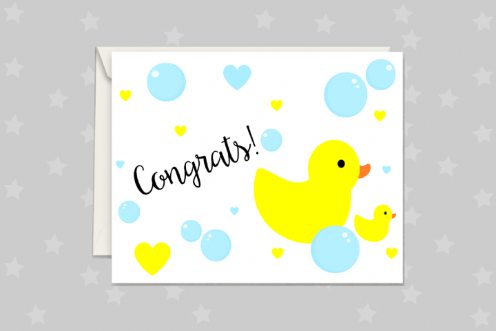 New Baby Card, Rubber Duck Greeting Card Printable
