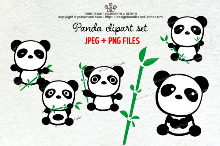 Cute panda clipart set