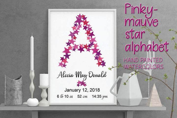 Fancy alphabet in mauvy-pink stars