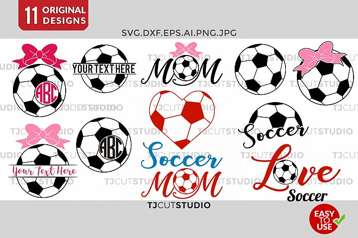 Soccer Monogram svg, Soccer SVG, Soccer Mom SVG, Bow Monogram SVG, love soccer, for Silhouette Cameo or Cricut Commercial & Personal Use.