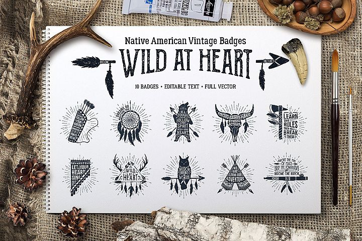 Wild at Heart. Native American Vintage Badges. Vol.1
