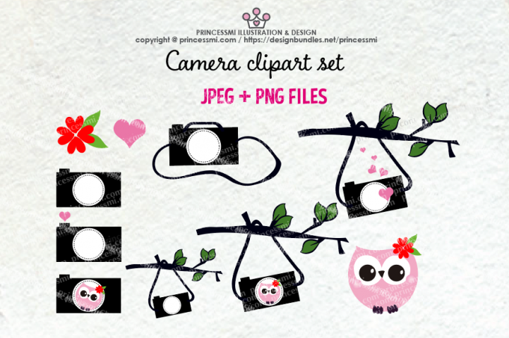 Cute camera clipart set 6 (with owl, love heart, holding on tree branch)