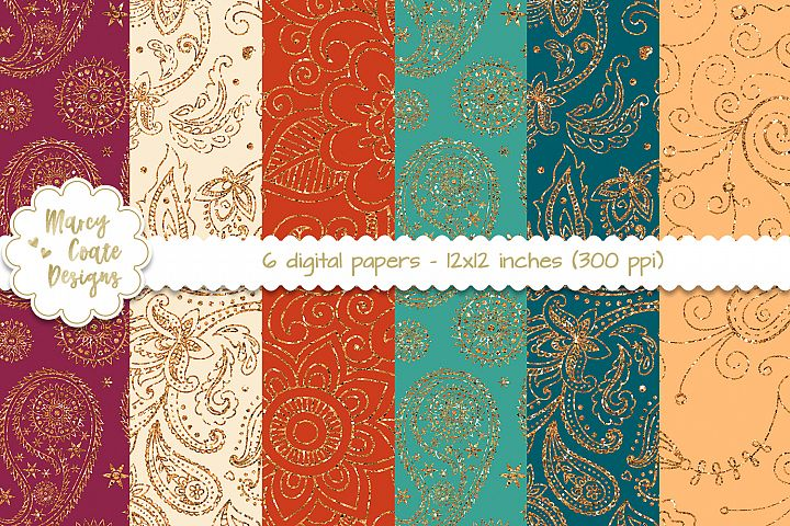 Paisley Glitter Bohemian Digital Papers Set of 6 backgrounds, 12x12 inches, 300 ppi, JPGs