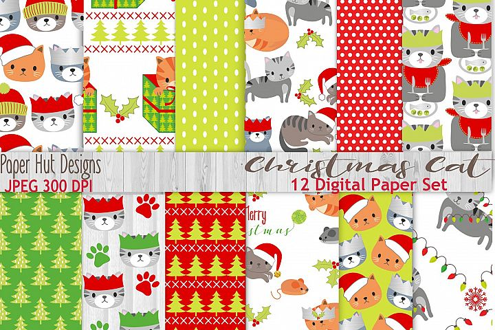 Christmas Cat Digital Papers