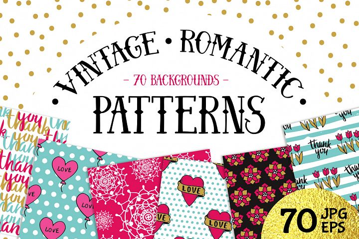 70 Valentines Day Seamless Patterns