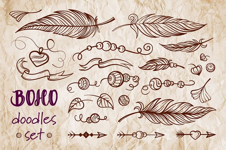 Boho doodles vector set