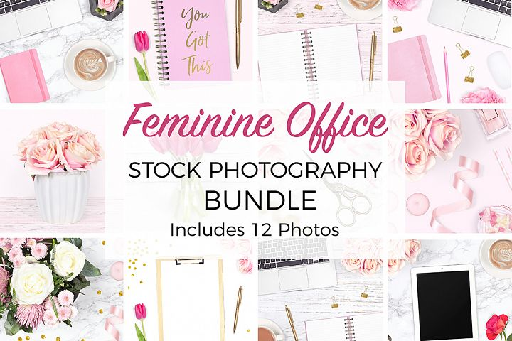 Feminine Desk Styled Stock Photo Bundle