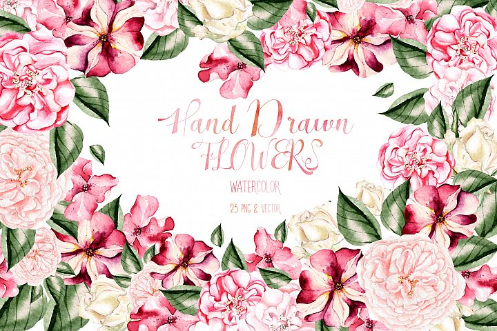 Hand Drawn Watercolor Flowers 23 PNG&VECTOR