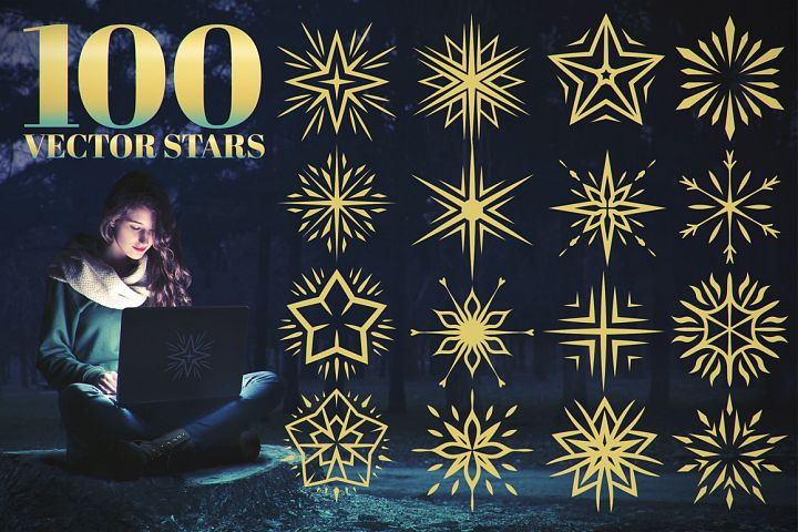 100 Star Vector Ornaments