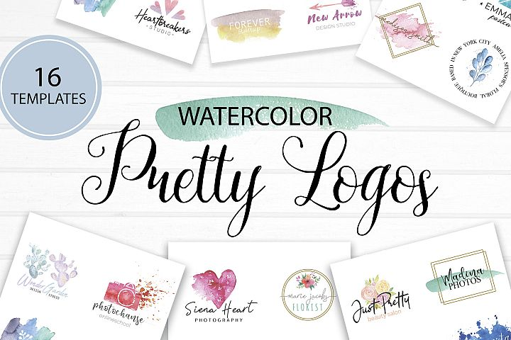Pretty logo templates. Watercolor Logos