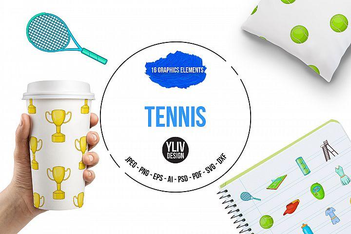 Tennis icons set, cartoon style
