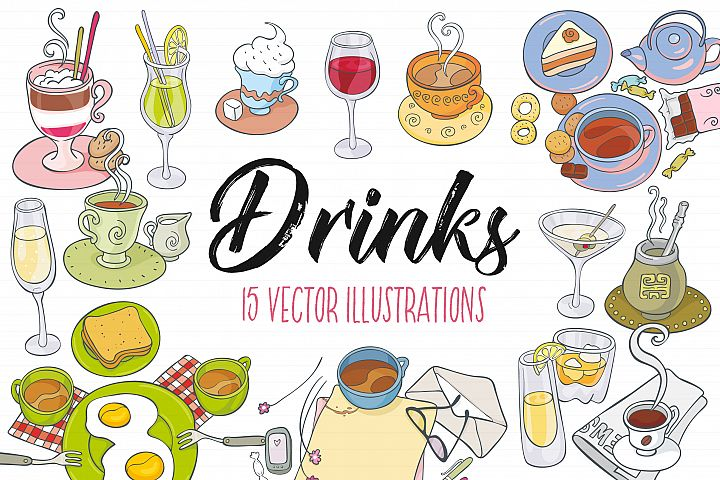 Drinks, vector illustrations - Free Design of The Week