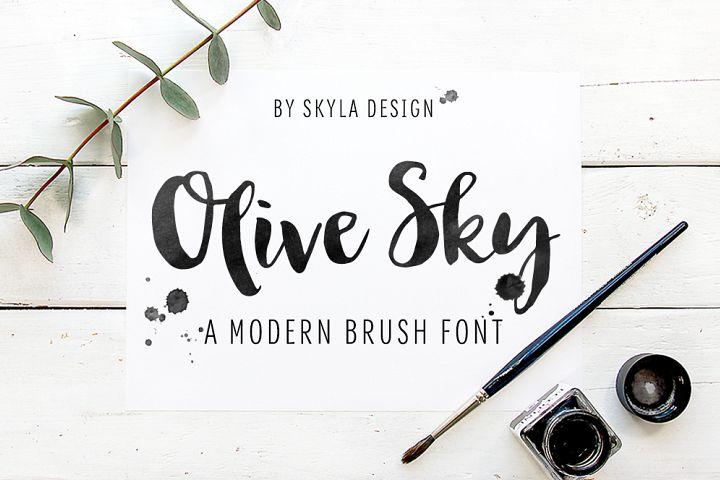 Modern brush font - Olive Sky