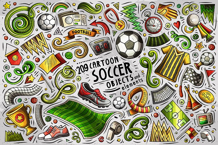 Soccer Cartoon Objects Set