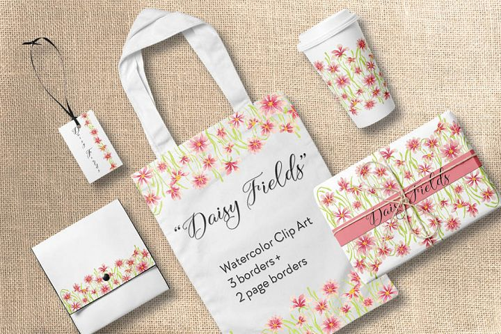 Watercolor borders of pink daisies